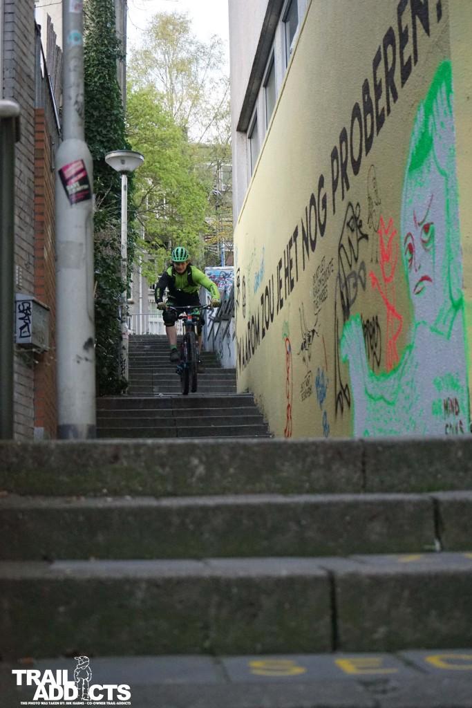 Rushing down some stairs in Arnhem
