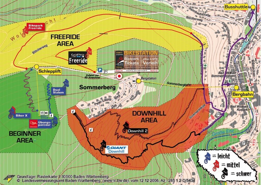 Trail kaart van het bikepark Bad Wildbad