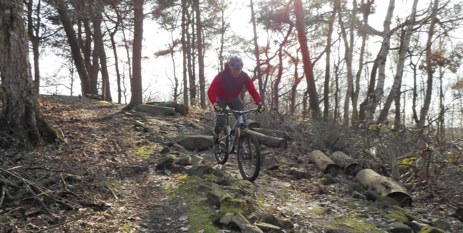 Een mountainbiker rijdt over een rock garden in Papendal
