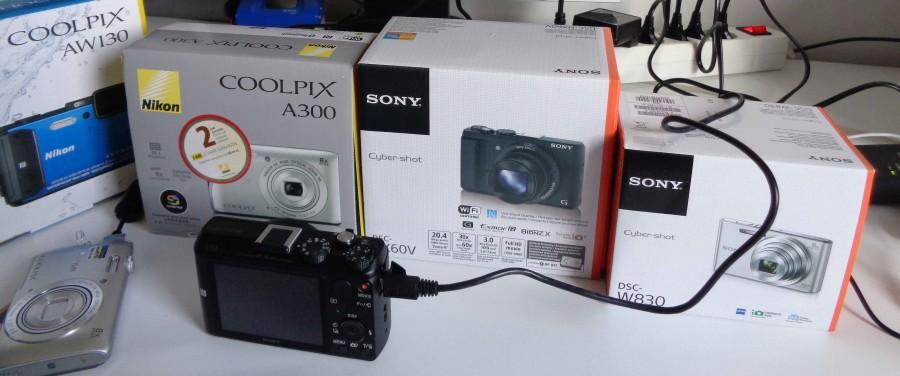 een line up van 5 camera's voor een camera test
