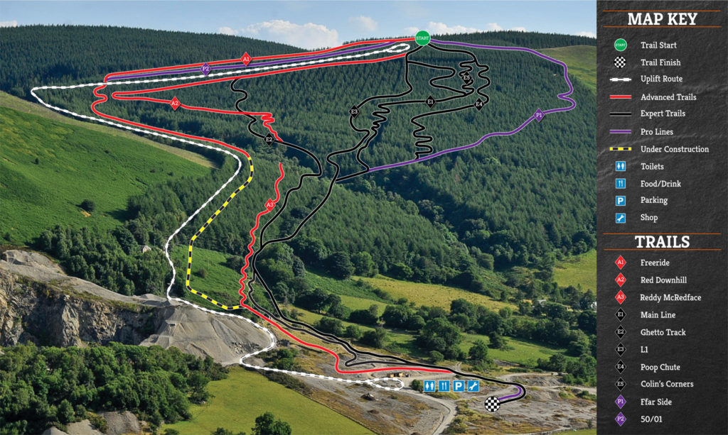 Revolution Bike park in Wales trail map