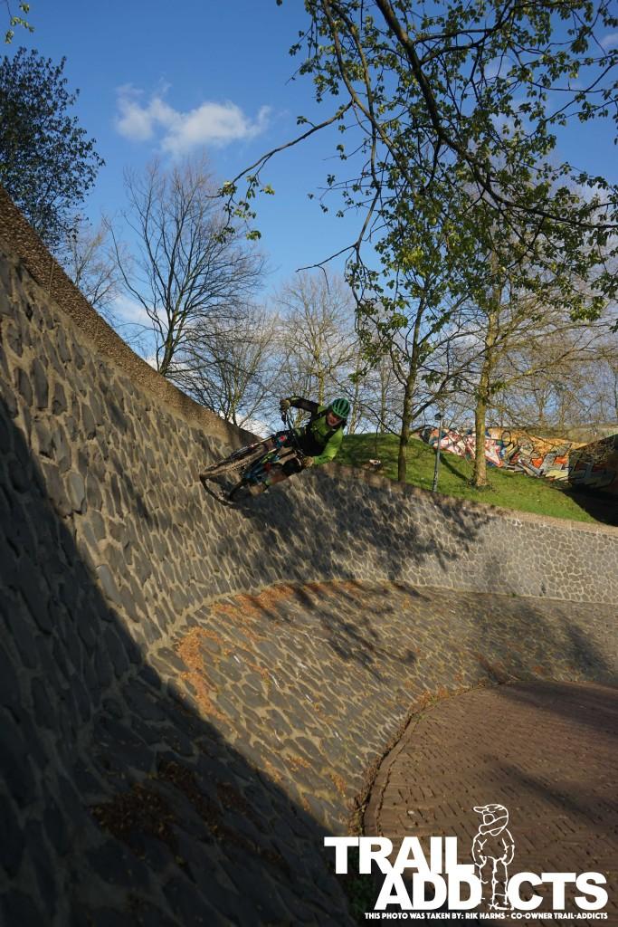 Riding a wall ride at the Rijn in Arnhem