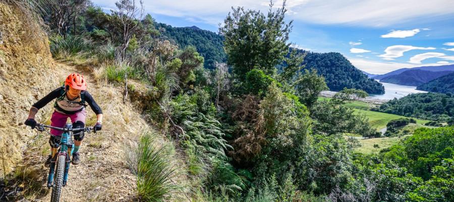 Middin in Nieuw-Zeeland rijdt deze mountainbikster over een trail. Er is een prachtig uitzicht op beboste berg hellingen en een meer in de verte