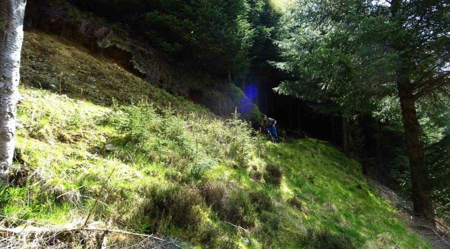 Rik rijdt over een trail in het bikepark in Schotland