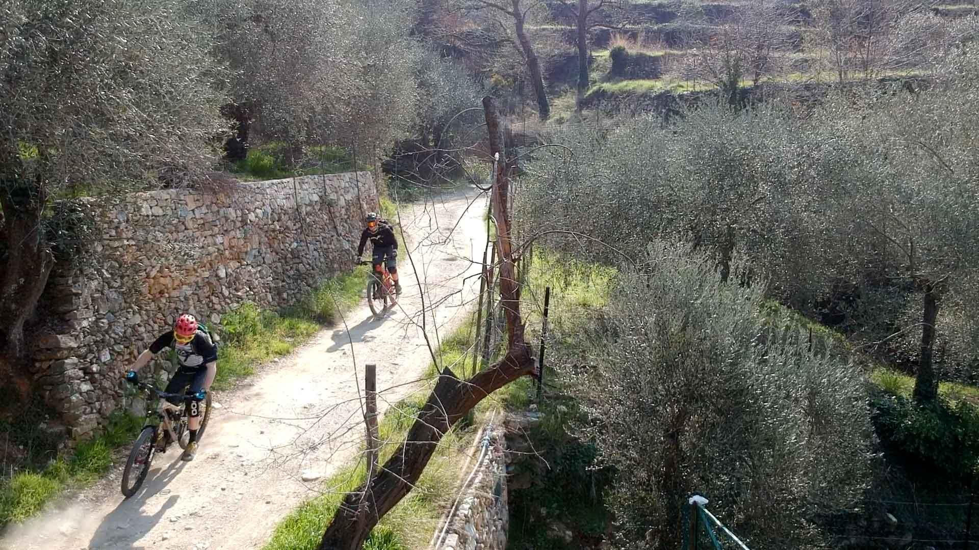 2 mountainbikers komen aangereden op de berg