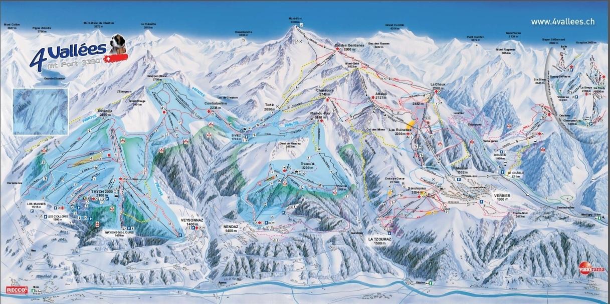 Wintersport overzicht skipistes verbier