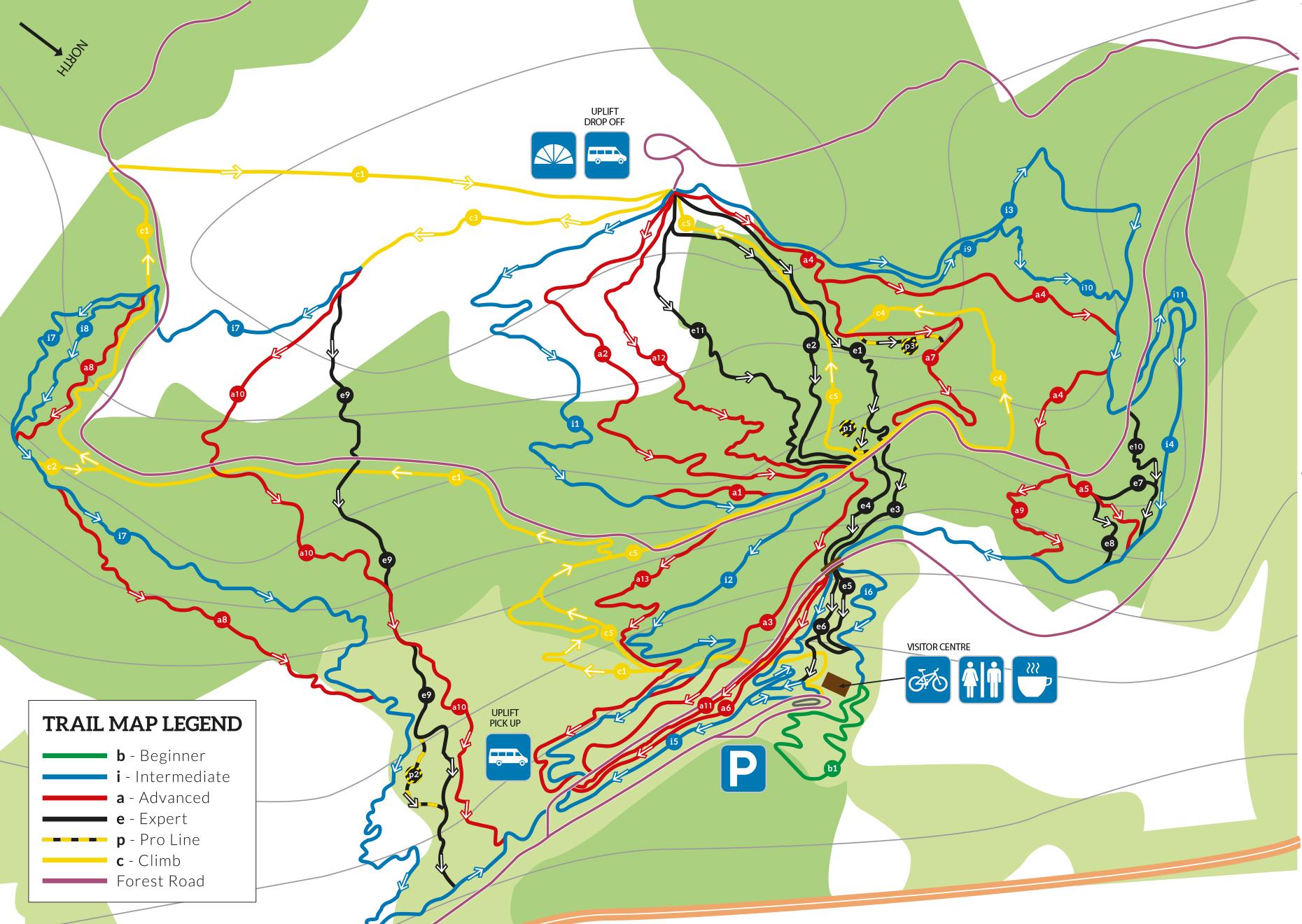 Map van Bikepark Wales