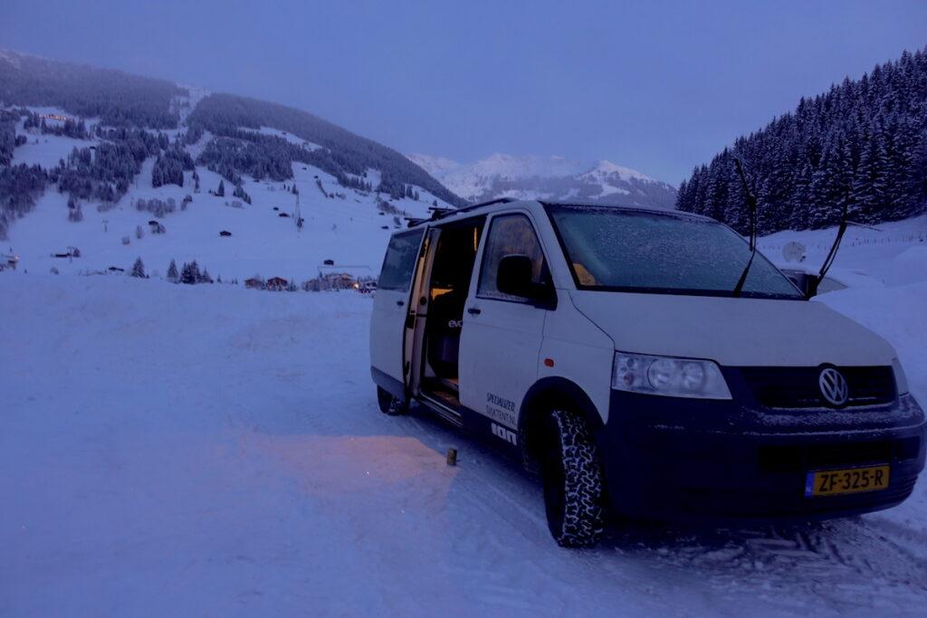 Winter camperen in Gerlos met volkswagen t5 camper
